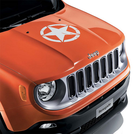 Adesivo per Cofano Bianco Us Army Star Originale Jeep Renegade