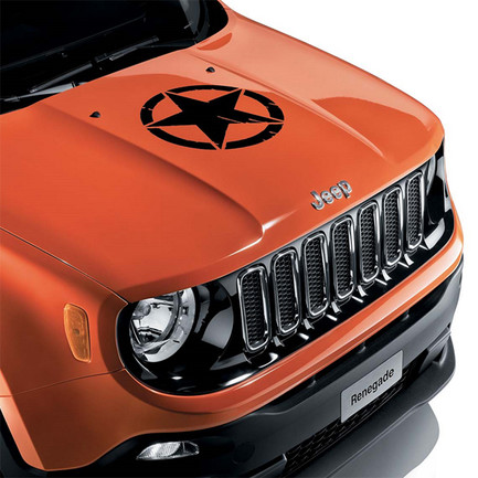 Adesivo per Cofano Nero Us Army Star Originale Jeep Renegade