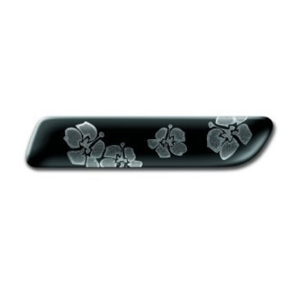 Badge Fiori Nero Grafica Argento Originale Fiat 500