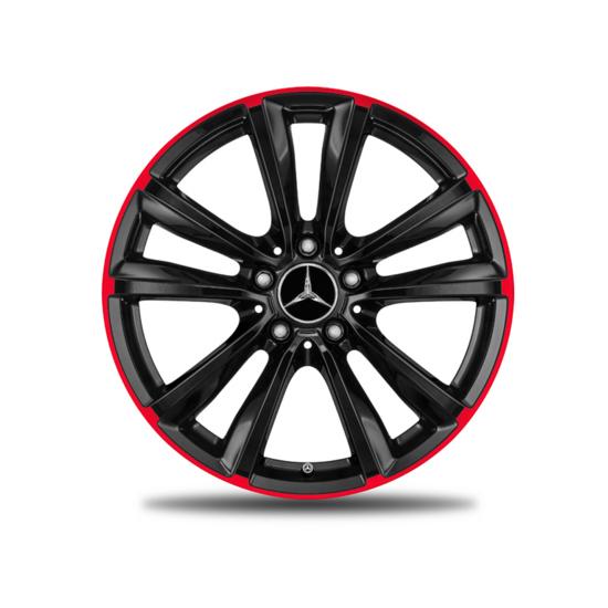 Cerchio Nero Con Bordo Rosso Da 18 Pollici Originale